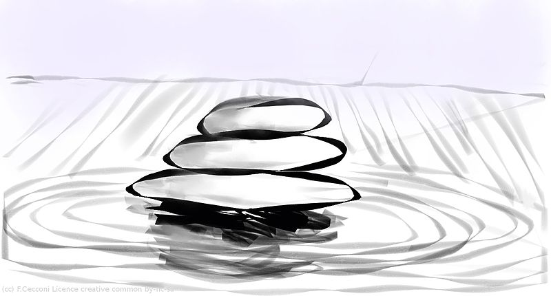 numeric black and white drawing of zen stones by F.Cecconi / Vorzinek